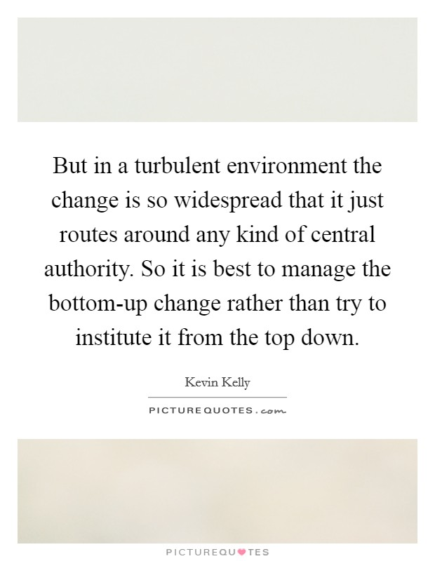 But in a turbulent environment the change is so widespread that it just routes around any kind of central authority. So it is best to manage the bottom-up change rather than try to institute it from the top down Picture Quote #1