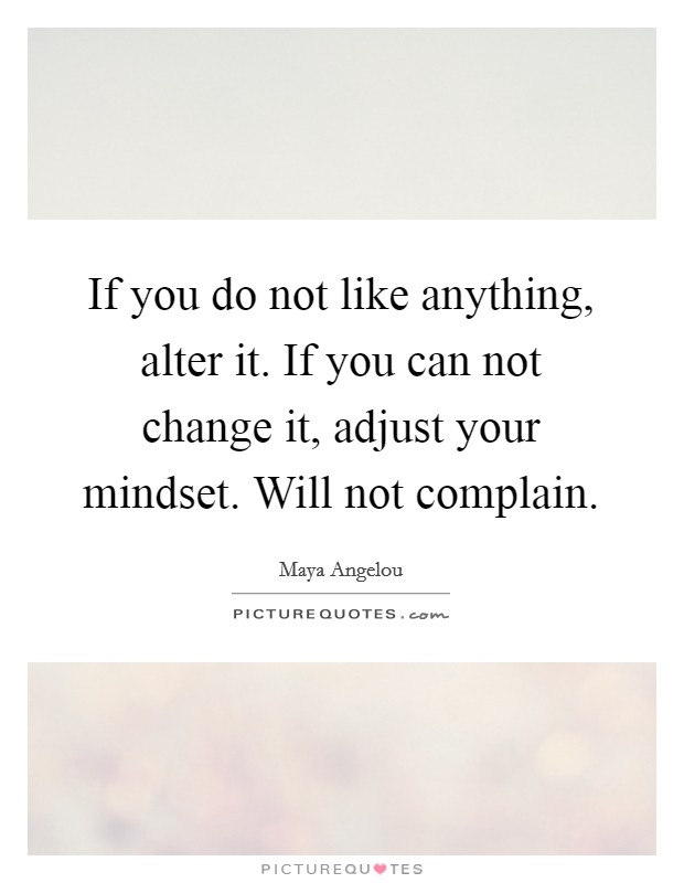 If you do not like anything, alter it. If you can not change it, adjust your mindset. Will not complain Picture Quote #1