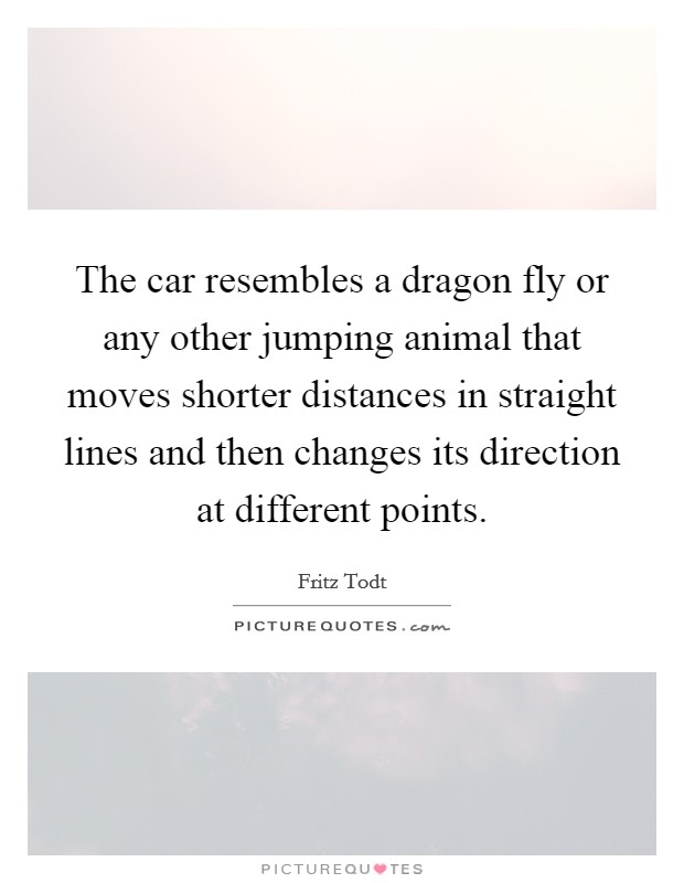 The car resembles a dragon fly or any other jumping animal that moves shorter distances in straight lines and then changes its direction at different points Picture Quote #1