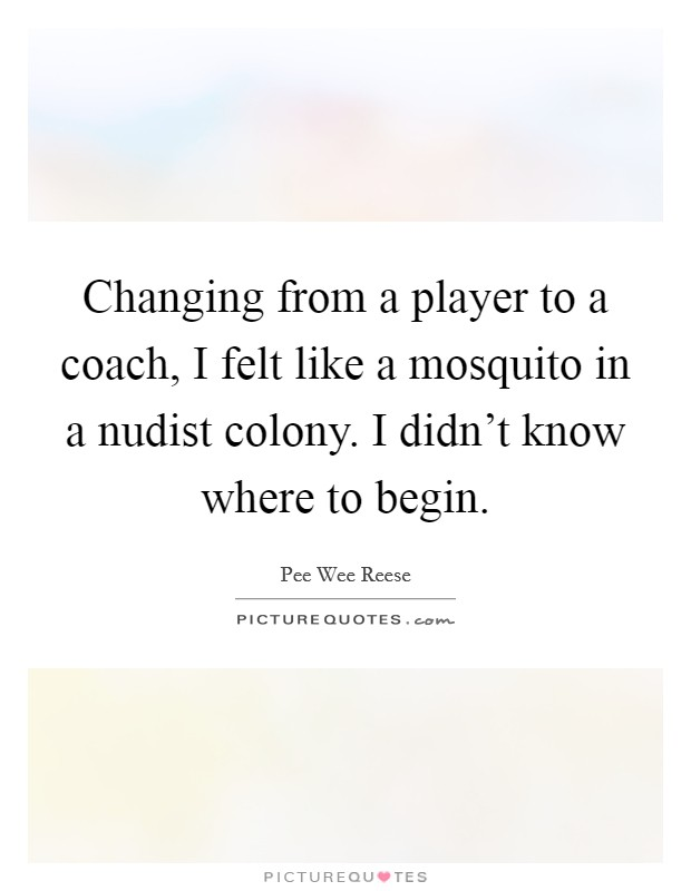Changing from a player to a coach, I felt like a mosquito in a nudist colony. I didn't know where to begin Picture Quote #1