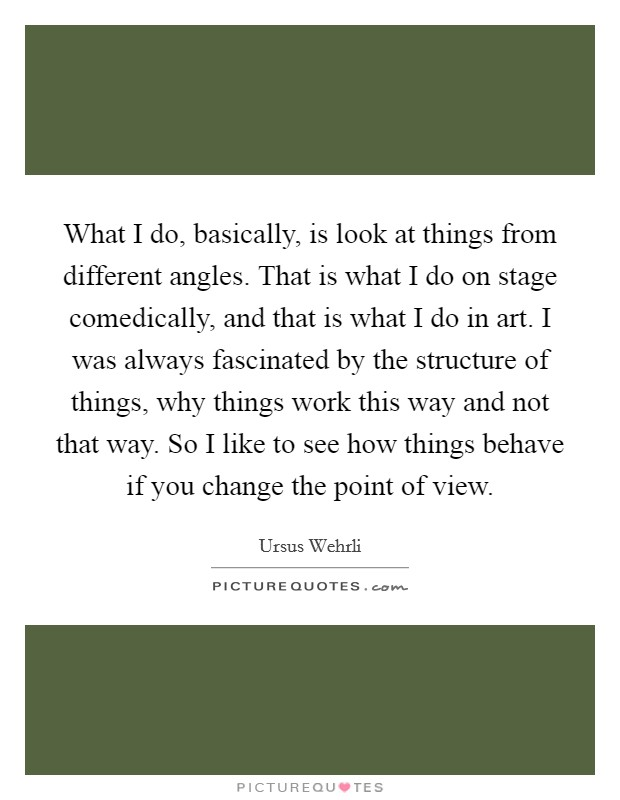 What I do, basically, is look at things from different angles. That is what I do on stage comedically, and that is what I do in art. I was always fascinated by the structure of things, why things work this way and not that way. So I like to see how things behave if you change the point of view Picture Quote #1