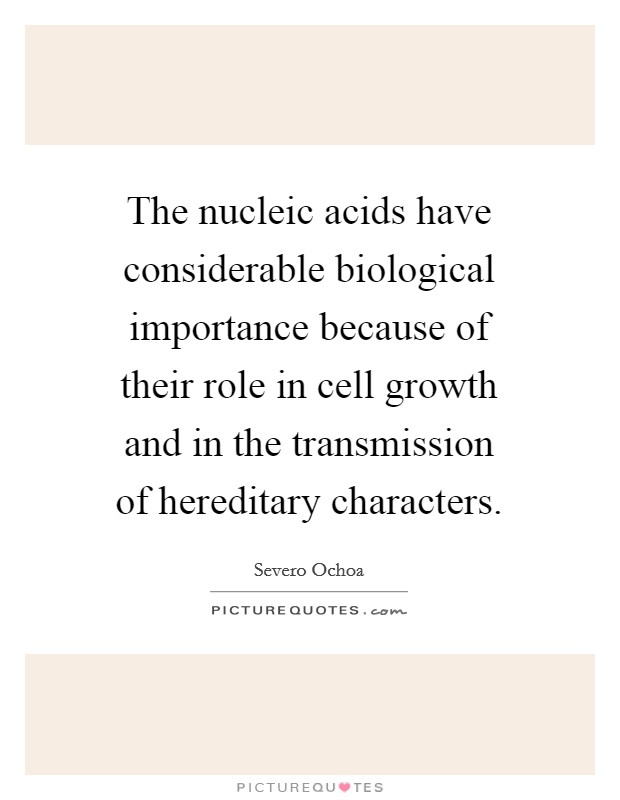The nucleic acids have considerable biological importance because of their role in cell growth and in the transmission of hereditary characters Picture Quote #1
