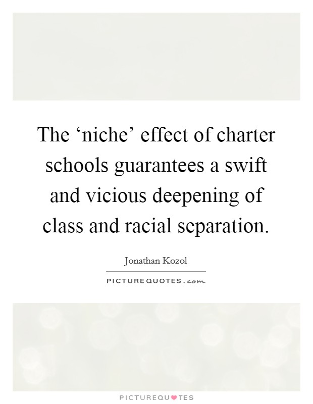 The 'niche' effect of charter schools guarantees a swift and vicious deepening of class and racial separation Picture Quote #1
