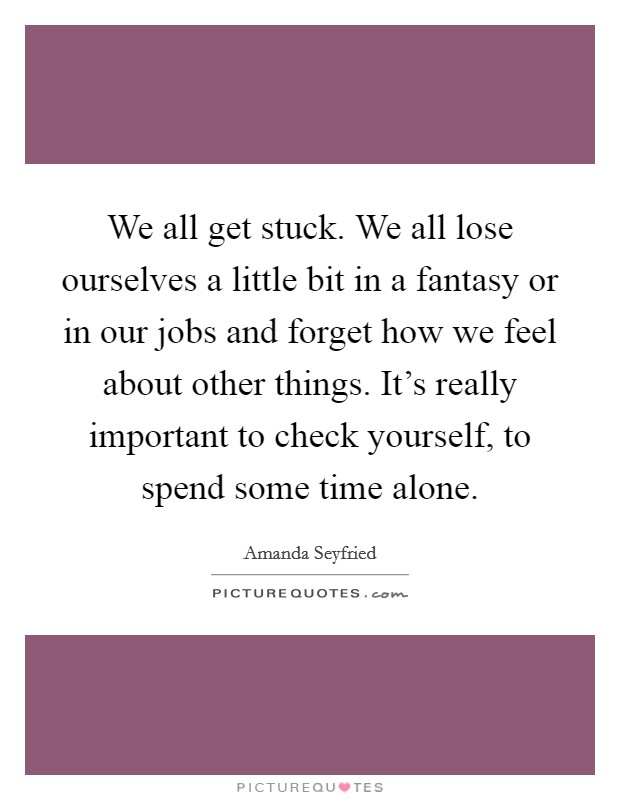 We all get stuck. We all lose ourselves a little bit in a fantasy or in our jobs and forget how we feel about other things. It's really important to check yourself, to spend some time alone Picture Quote #1