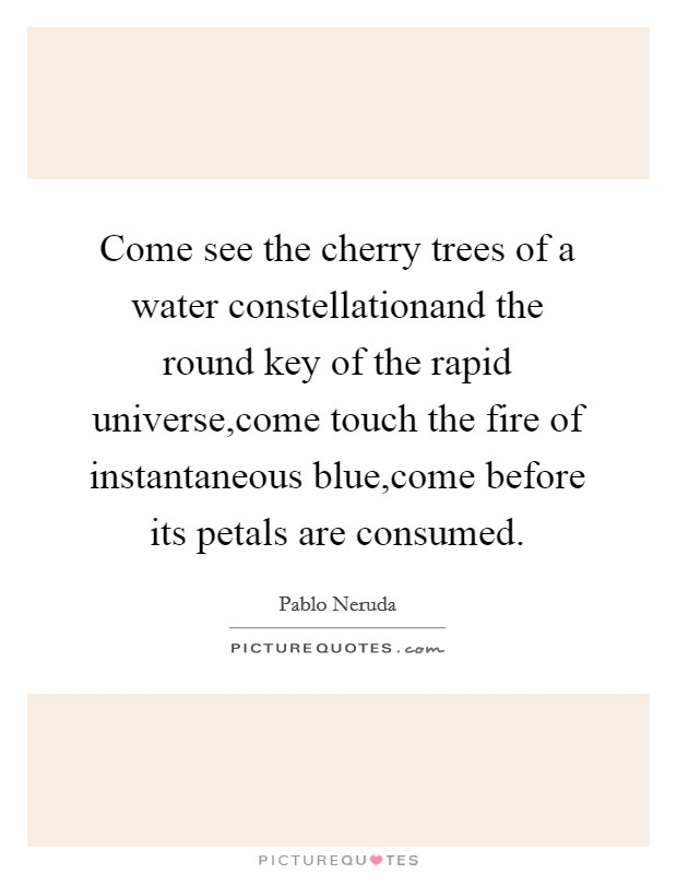 Come see the cherry trees of a water constellationand the round key of the rapid universe,come touch the fire of instantaneous blue,come before its petals are consumed Picture Quote #1