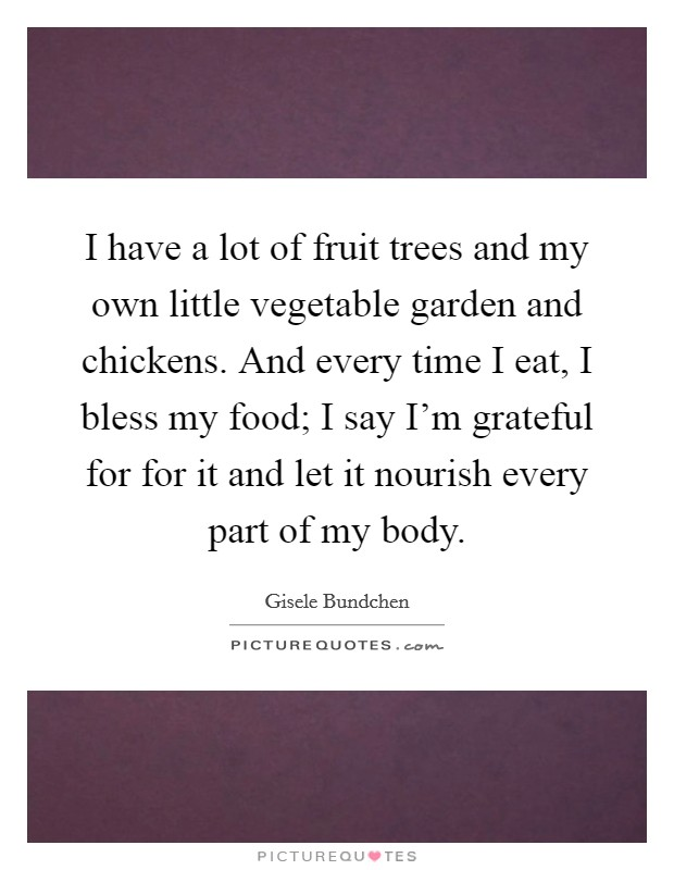 I have a lot of fruit trees and my own little vegetable garden and chickens. And every time I eat, I bless my food; I say I'm grateful for for it and let it nourish every part of my body Picture Quote #1