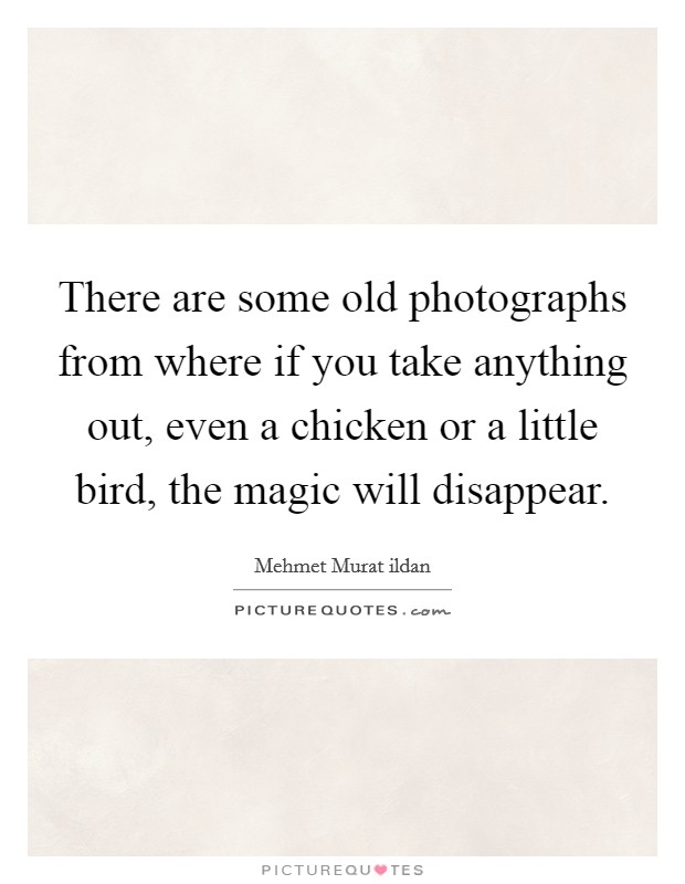 There are some old photographs from where if you take anything out, even a chicken or a little bird, the magic will disappear Picture Quote #1