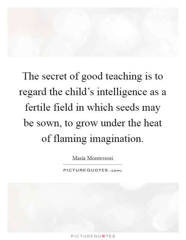 The secret of good teaching is to regard the child's intelligence as a fertile field in which seeds may be sown, to grow under the heat of flaming imagination Picture Quote #1