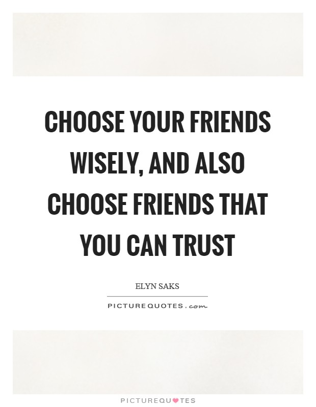 Choose your friends wisely, and also choose friends that you can trust Picture Quote #1