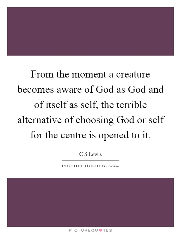 From the moment a creature becomes aware of God as God and of itself as self, the terrible alternative of choosing God or self for the centre is opened to it Picture Quote #1