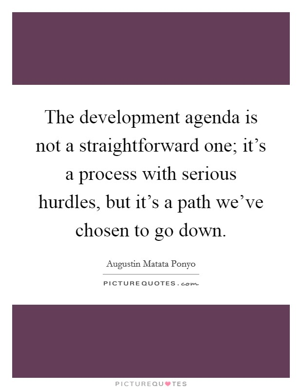 The development agenda is not a straightforward one; it's a process with serious hurdles, but it's a path we've chosen to go down Picture Quote #1