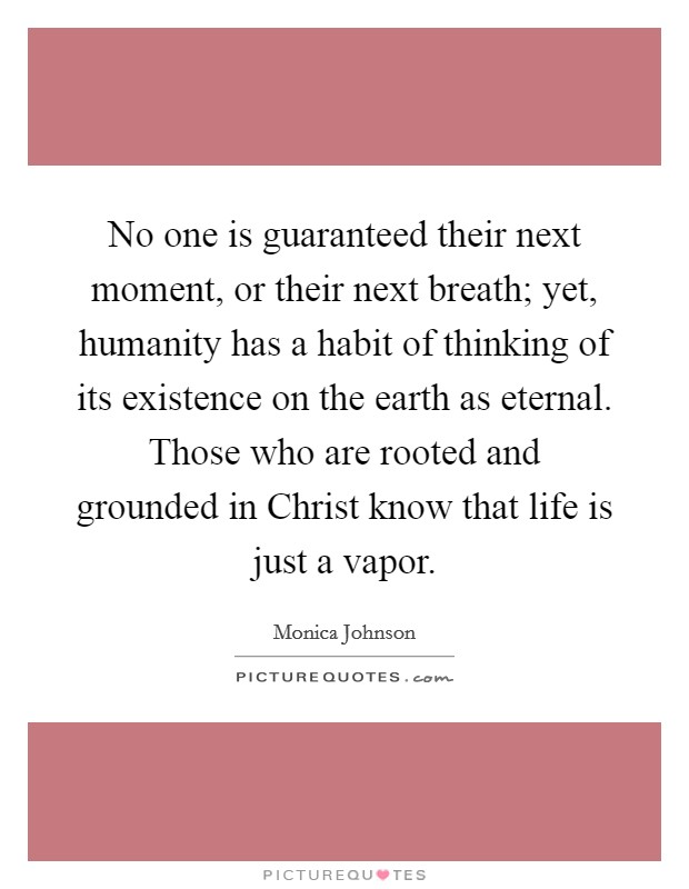 No one is guaranteed their next moment, or their next breath; yet, humanity has a habit of thinking of its existence on the earth as eternal. Those who are rooted and grounded in Christ know that life is just a vapor Picture Quote #1