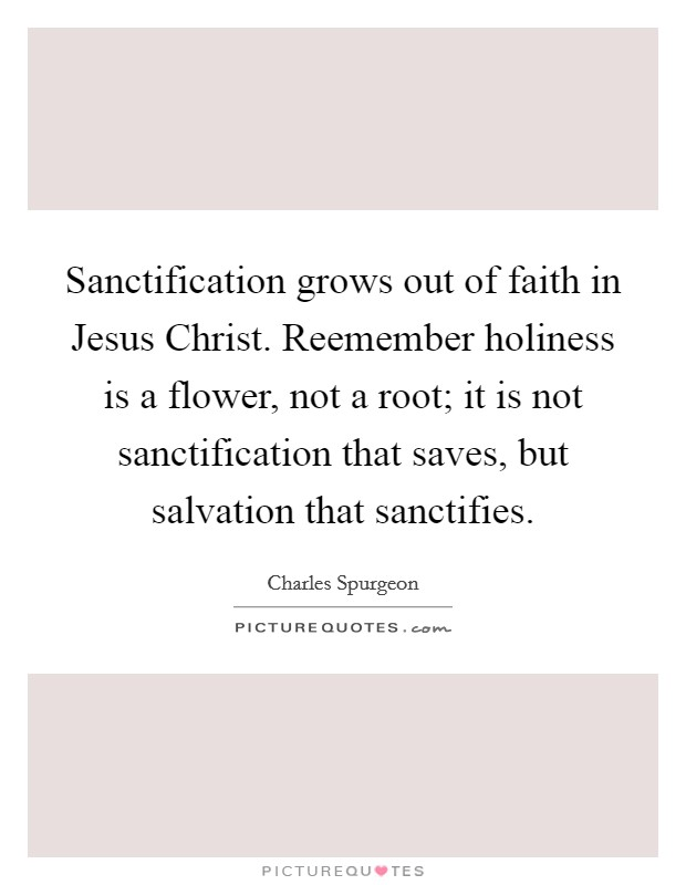 Sanctification grows out of faith in Jesus Christ. Reemember holiness is a flower, not a root; it is not sanctification that saves, but salvation that sanctifies Picture Quote #1
