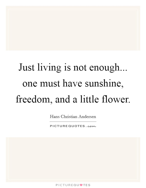 Just living is not enough... one must have sunshine, freedom, and a little flower Picture Quote #1