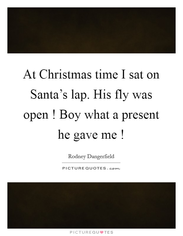 At Christmas time I sat on Santa's lap. His fly was open ! Boy what a present he gave me ! Picture Quote #1