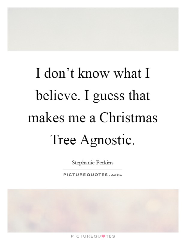 I don't know what I believe. I guess that makes me a Christmas Tree Agnostic Picture Quote #1