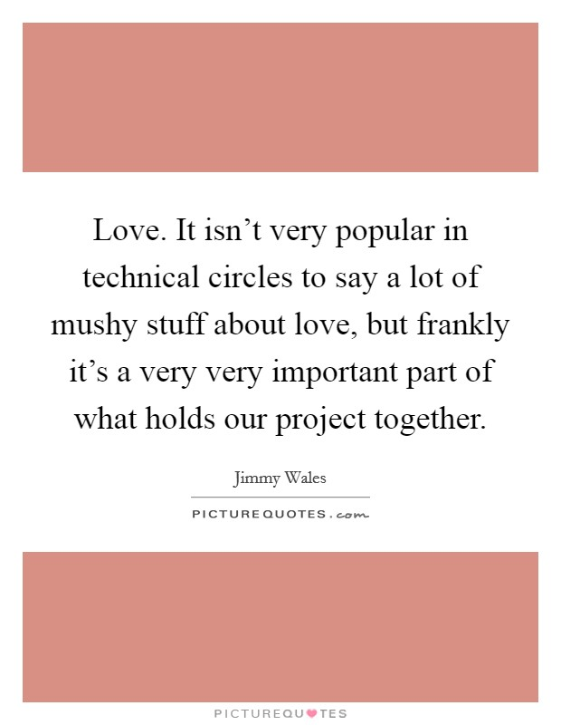 Love. It isn't very popular in technical circles to say a lot of mushy stuff about love, but frankly it's a very very important part of what holds our project together Picture Quote #1