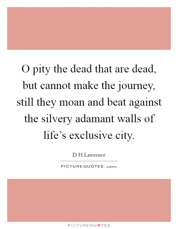 O pity the dead that are dead, but cannot make the journey, still they moan and beat against the silvery adamant walls of life's exclusive city Picture Quote #1