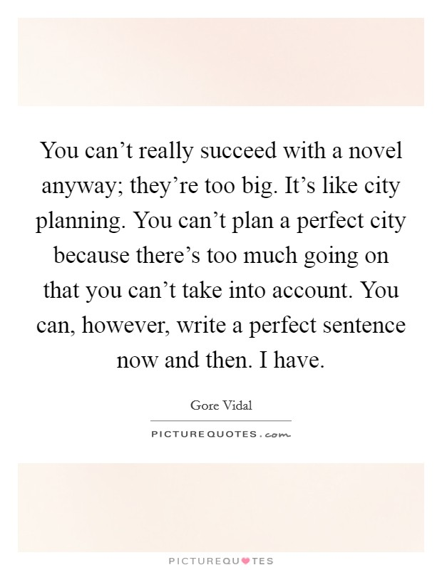 You can't really succeed with a novel anyway; they're too big. It's like city planning. You can't plan a perfect city because there's too much going on that you can't take into account. You can, however, write a perfect sentence now and then. I have Picture Quote #1
