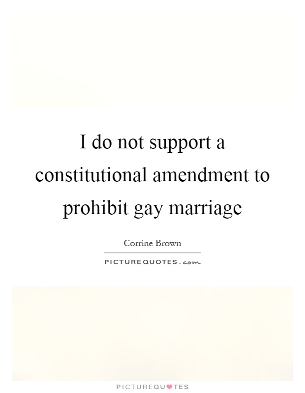 I do not support a constitutional amendment to prohibit gay marriage Picture Quote #1
