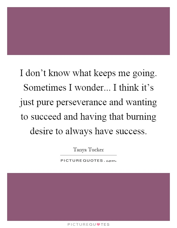 I don't know what keeps me going. Sometimes I wonder... I think it's just pure perseverance and wanting to succeed and having that burning desire to always have success Picture Quote #1