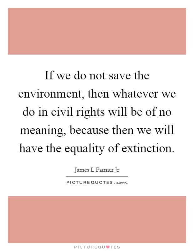 If we do not save the environment, then whatever we do in civil rights will be of no meaning, because then we will have the equality of extinction Picture Quote #1
