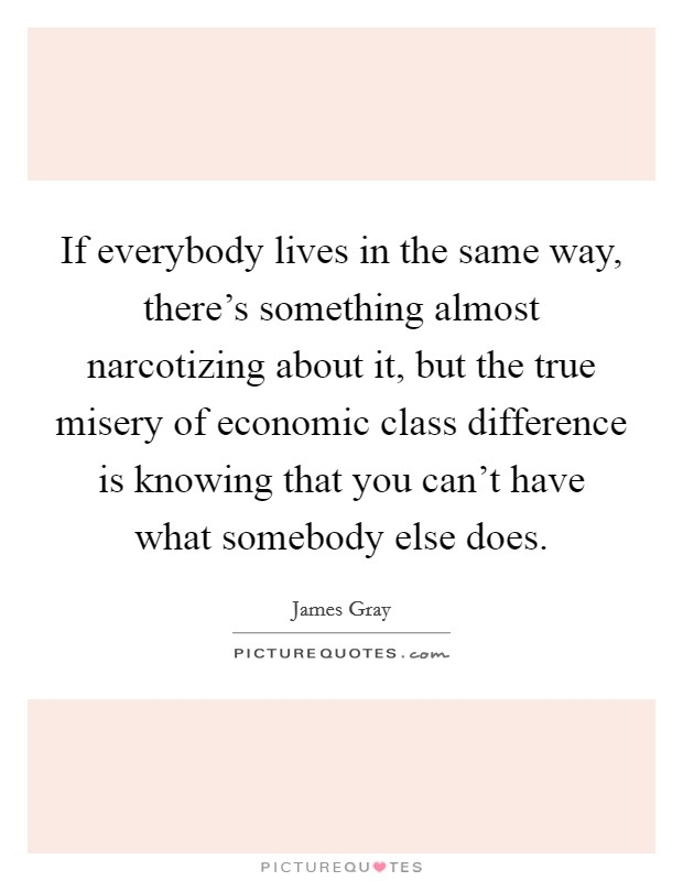 If everybody lives in the same way, there's something almost narcotizing about it, but the true misery of economic class difference is knowing that you can't have what somebody else does Picture Quote #1