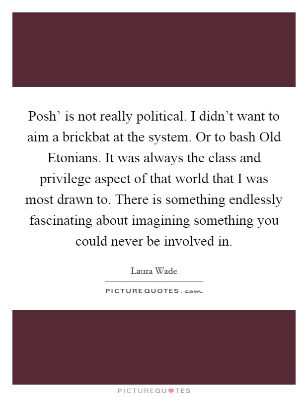 Posh' is not really political. I didn't want to aim a brickbat at the system. Or to bash Old Etonians. It was always the class and privilege aspect of that world that I was most drawn to. There is something endlessly fascinating about imagining something you could never be involved in Picture Quote #1