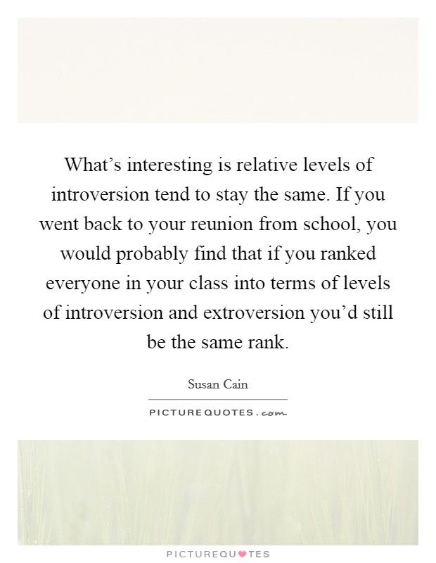 What's interesting is relative levels of introversion tend to stay the same. If you went back to your reunion from school, you would probably find that if you ranked everyone in your class into terms of levels of introversion and extroversion you'd still be the same rank Picture Quote #1