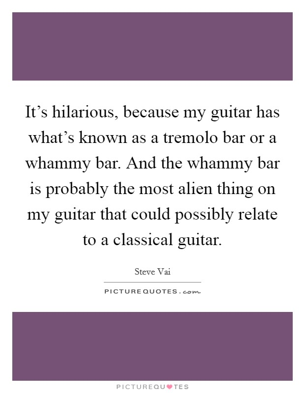 It's hilarious, because my guitar has what's known as a tremolo bar or a whammy bar. And the whammy bar is probably the most alien thing on my guitar that could possibly relate to a classical guitar. Picture Quote #1