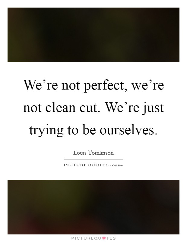 We're not perfect, we're not clean cut. We're just trying to be ourselves Picture Quote #1