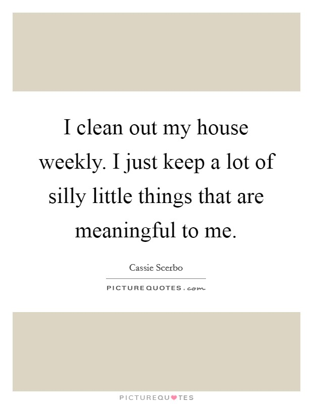 I clean out my house weekly. I just keep a lot of silly little things that are meaningful to me Picture Quote #1