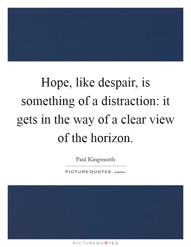 Hope, like despair, is something of a distraction: it gets in the way of a clear view of the horizon Picture Quote #1