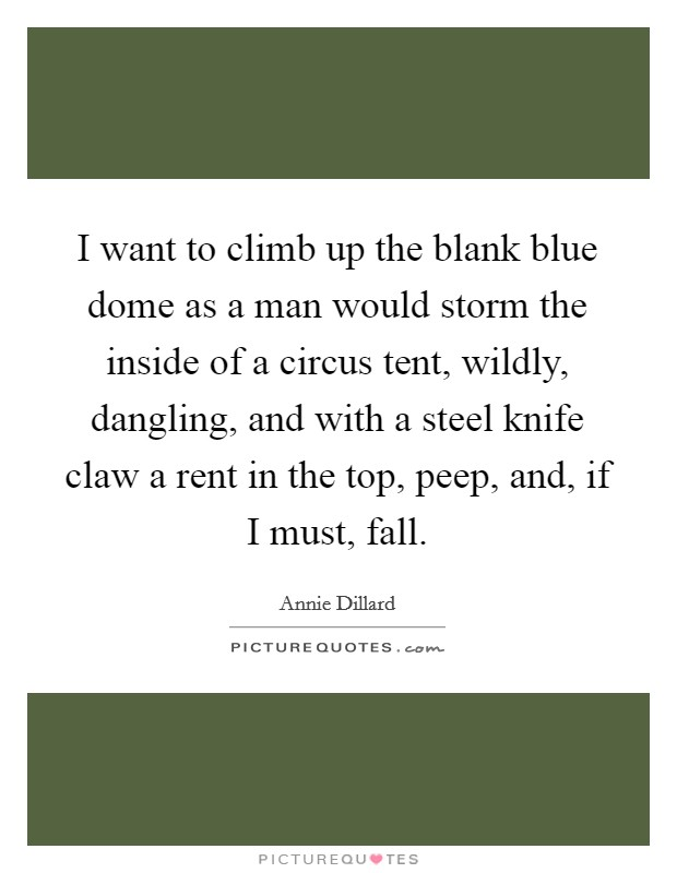 I want to climb up the blank blue dome as a man would storm the inside of a circus tent, wildly, dangling, and with a steel knife claw a rent in the top, peep, and, if I must, fall Picture Quote #1