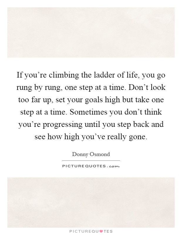 If you're climbing the ladder of life, you go rung by rung, one step at a time. Don't look too far up, set your goals high but take one step at a time. Sometimes you don't think you're progressing until you step back and see how high you've really gone Picture Quote #1