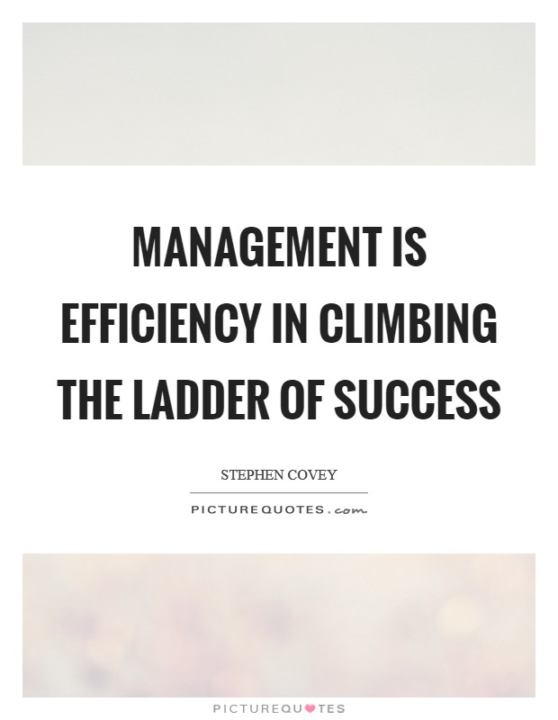 Management is efficiency in climbing the ladder of success Picture Quote #1