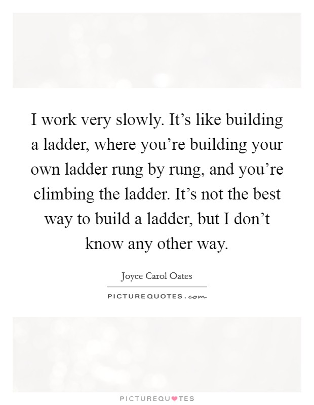 I work very slowly. It's like building a ladder, where you're building your own ladder rung by rung, and you're climbing the ladder. It's not the best way to build a ladder, but I don't know any other way Picture Quote #1