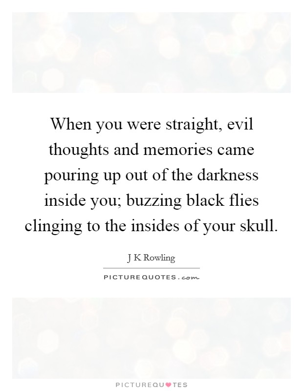 When you were straight, evil thoughts and memories came pouring up out of the darkness inside you; buzzing black flies clinging to the insides of your skull Picture Quote #1