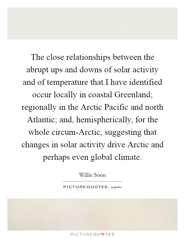 The close relationships between the abrupt ups and downs of solar activity and of temperature that I have identified occur locally in coastal Greenland; regionally in the Arctic Pacific and north Atlantic; and, hemispherically, for the whole circum-Arctic, suggesting that changes in solar activity drive Arctic and perhaps even global climate Picture Quote #1