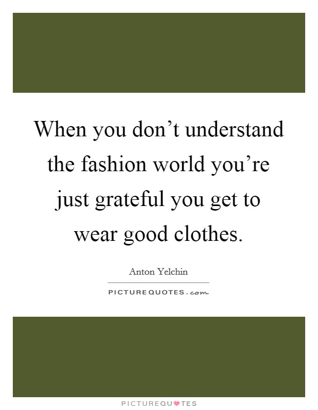 When you don't understand the fashion world you're just grateful you get to wear good clothes Picture Quote #1