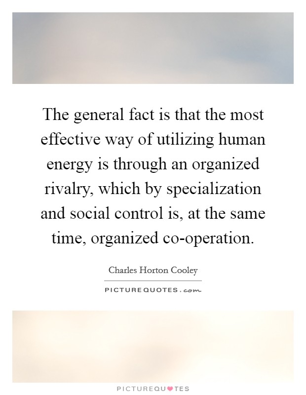 The general fact is that the most effective way of utilizing human energy is through an organized rivalry, which by specialization and social control is, at the same time, organized co-operation. Picture Quote #1