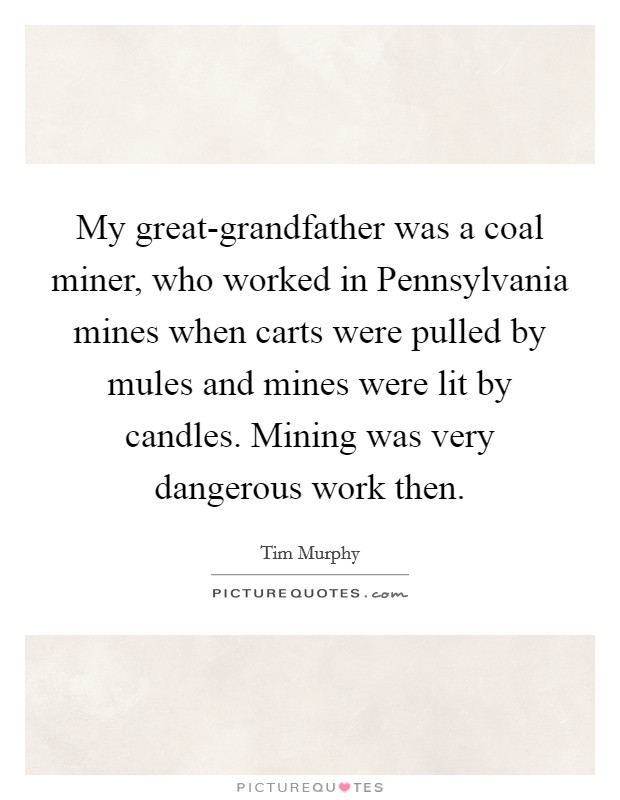 My great-grandfather was a coal miner, who worked in Pennsylvania mines when carts were pulled by mules and mines were lit by candles. Mining was very dangerous work then Picture Quote #1
