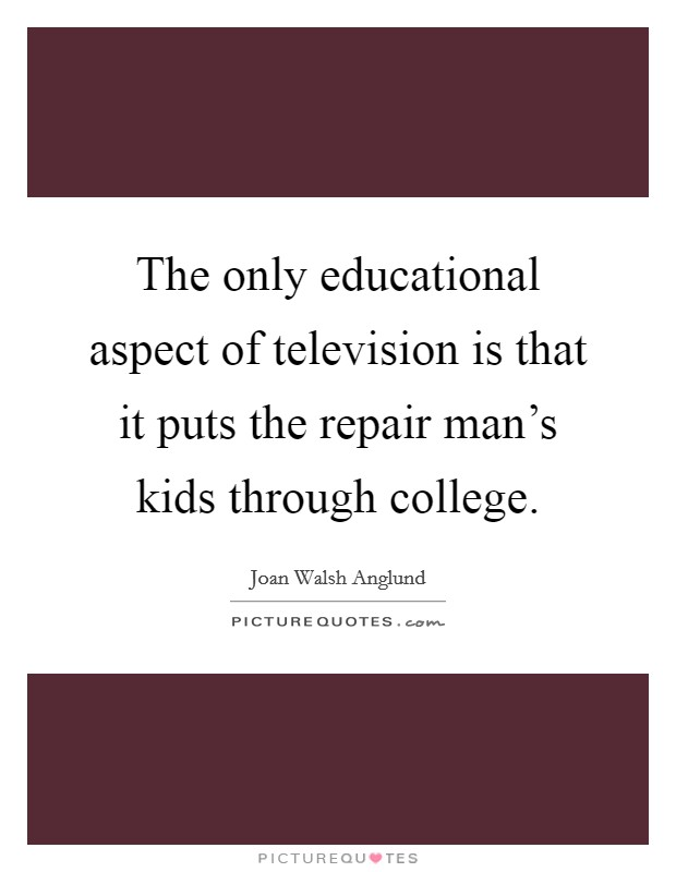 The only educational aspect of television is that it puts the repair man's kids through college Picture Quote #1