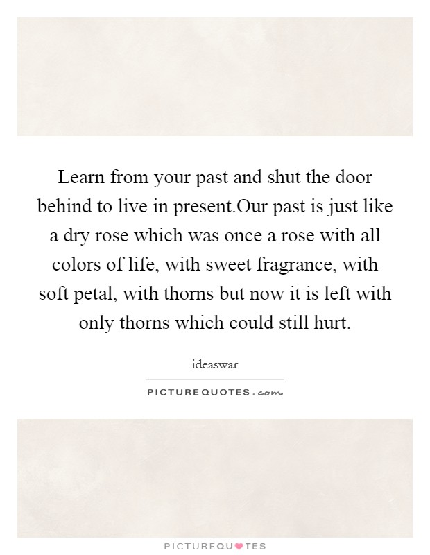 Learn from your past and shut the door behind to live in present.Our past is just like a dry rose which was once a rose with all colors of life, with sweet fragrance, with soft petal, with thorns but now it is left with only thorns which could still hurt Picture Quote #1