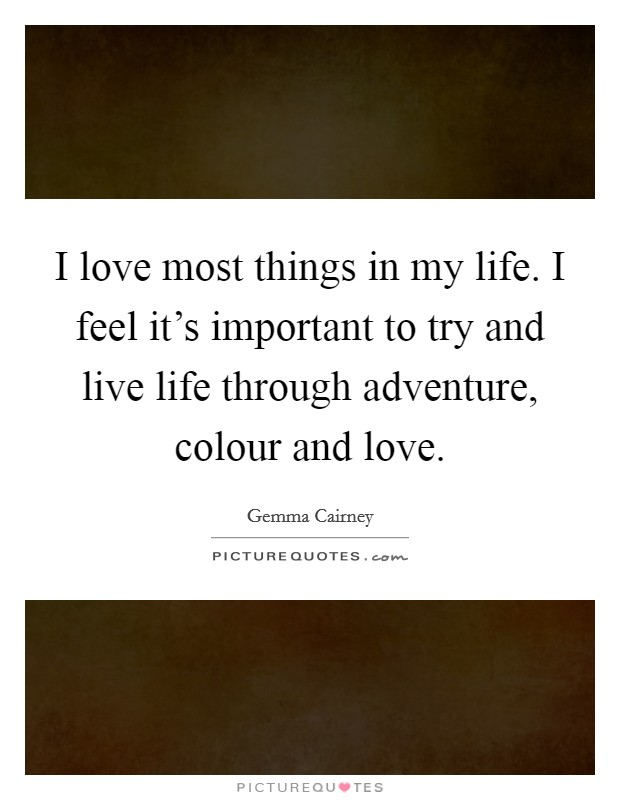 I love most things in my life. I feel it's important to try and live life through adventure, colour and love Picture Quote #1