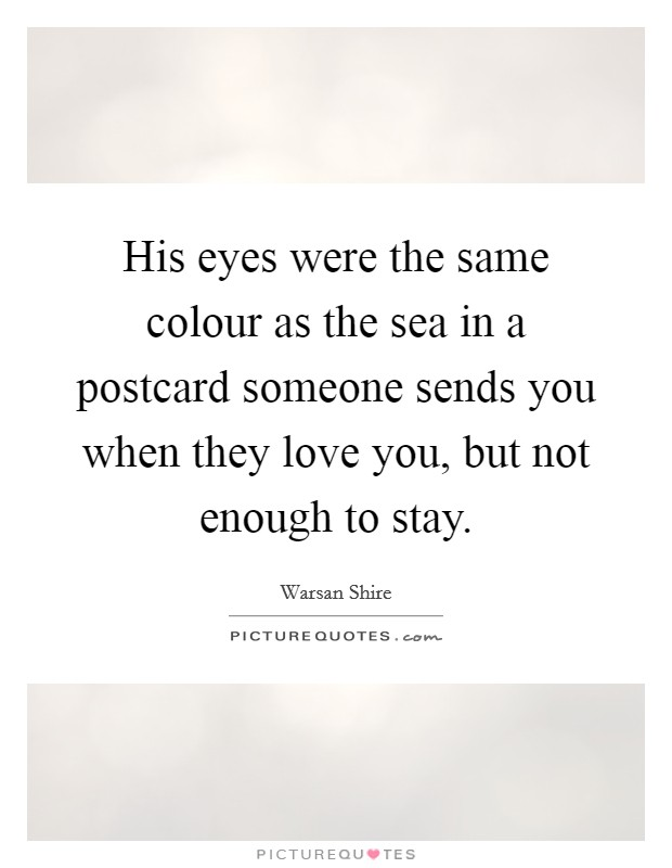 His eyes were the same colour as the sea in a postcard someone sends you when they love you, but not enough to stay Picture Quote #1