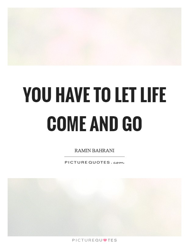 You have to let life come and go Picture Quote #1