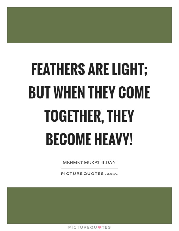 Feathers are light; but when they come together, they become heavy! Picture Quote #1