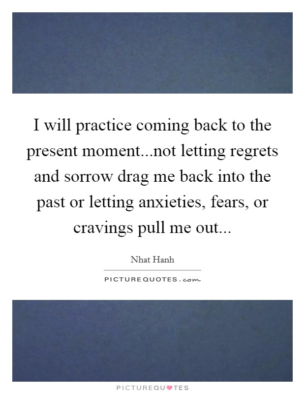 I will practice coming back to the present moment...not letting regrets and sorrow drag me back into the past or letting anxieties, fears, or cravings pull me out Picture Quote #1