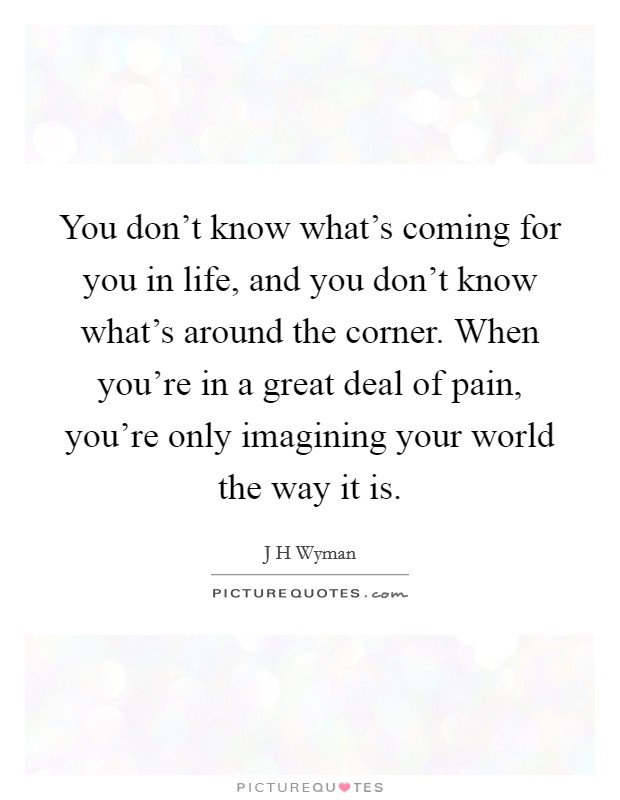 You don't know what's coming for you in life, and you don't know what's around the corner. When you're in a great deal of pain, you're only imagining your world the way it is Picture Quote #1